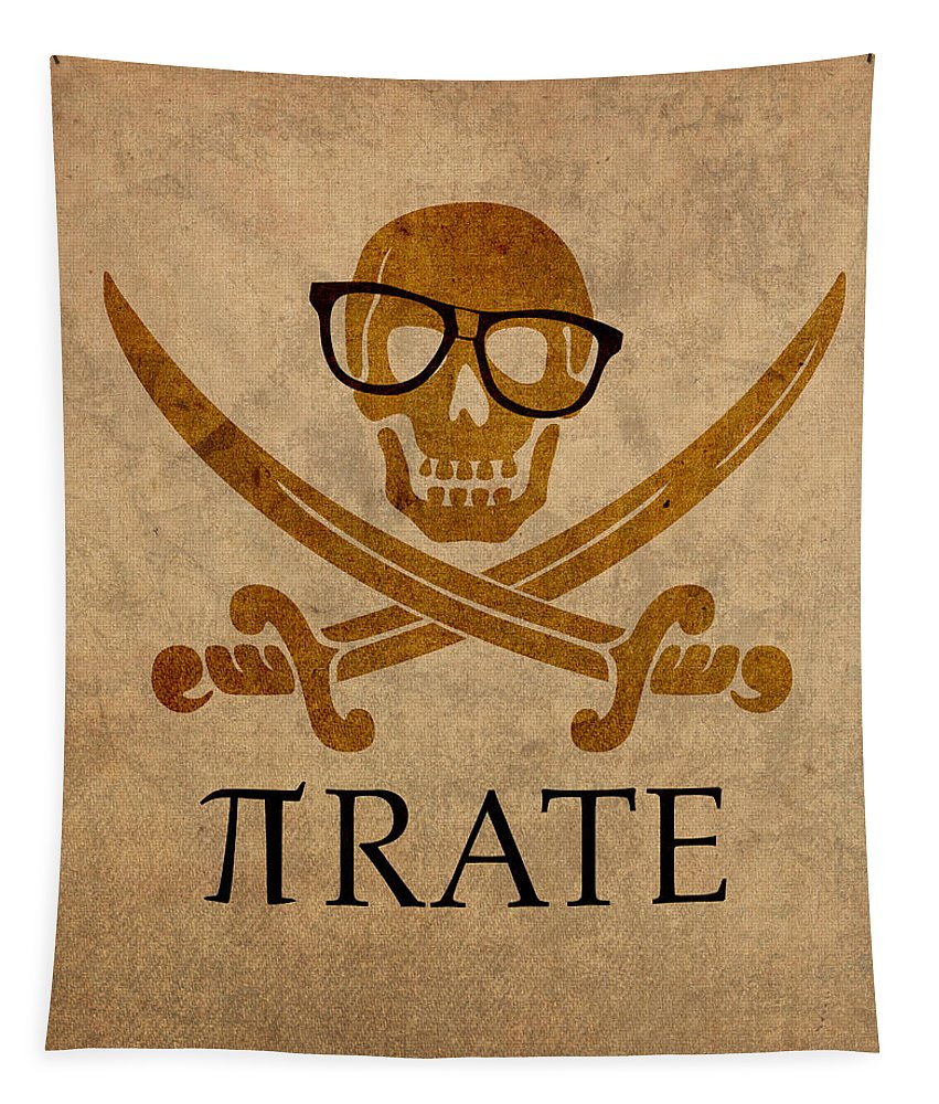 Pirate Math Nerd Humor Poster Art Pi Formula Tapestry featuring the mixed media Pirate Math Nerd Humor Poster Art by Design Turnpike