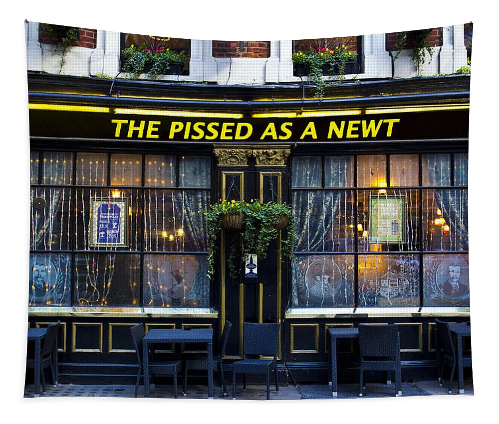 Pub Tapestry featuring the photograph Pissed As A Newt Pub by David Pyatt