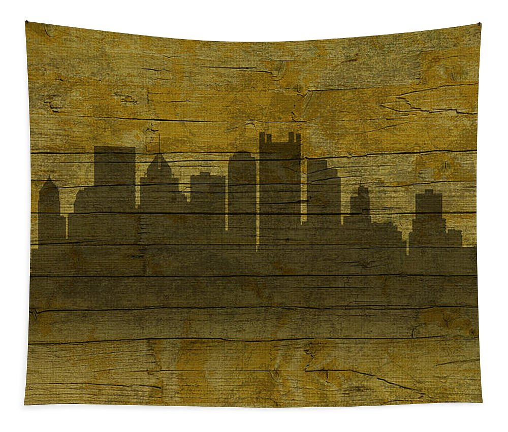 Pittsburgh Tapestry featuring the mixed media Pittsburgh Pennsylvania City Skyline Silhouette Distressed On Worn Peeling Wood No Name Version by Design Turnpike