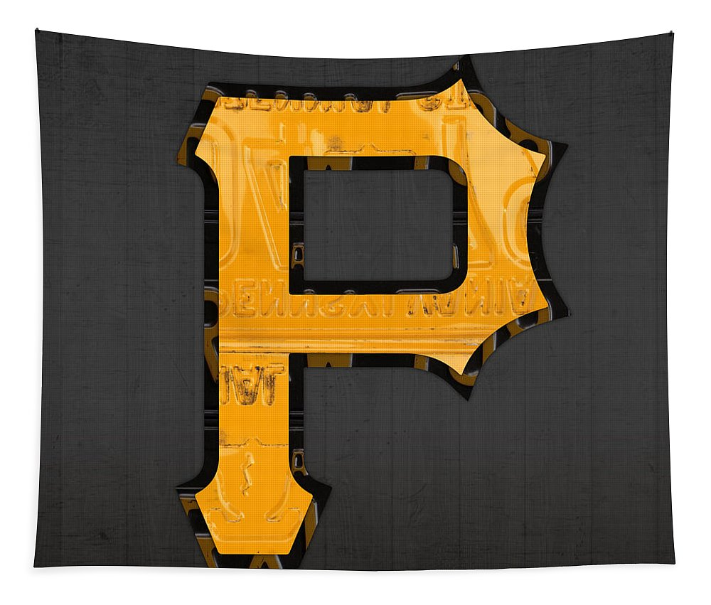 Pittsburgh Tapestry featuring the mixed media Pittsburgh Pirates Baseball Vintage Logo License Plate Art by Design Turnpike