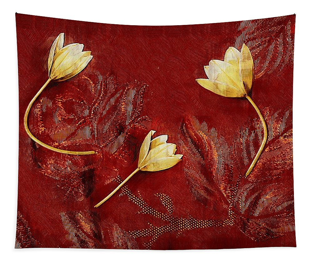 Nature Tapestry featuring the mixed media Plain Flowers Pop Art by Pepita Selles