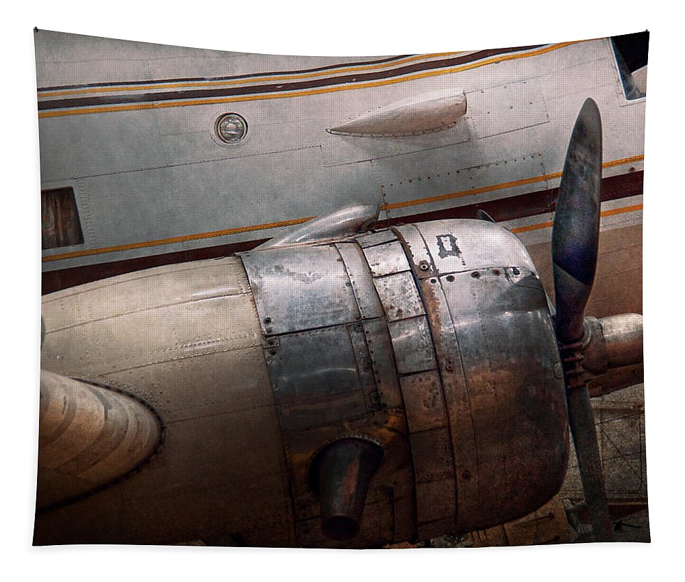 Plane Tapestry featuring the photograph Plane - A Little Rough Around The Edges by Mike Savad