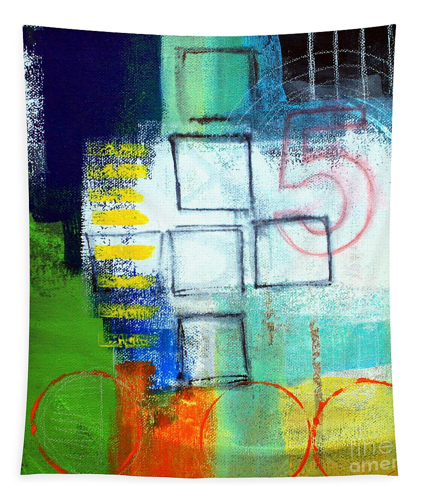 Abstract Tapestry featuring the painting Playground by Linda Woods