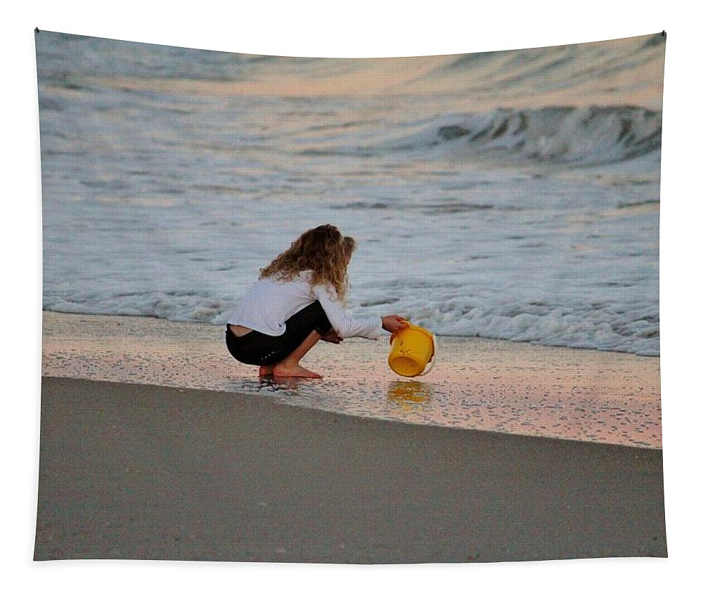 Girl Tapestry featuring the photograph Playing In The Ocean by Cynthia Guinn
