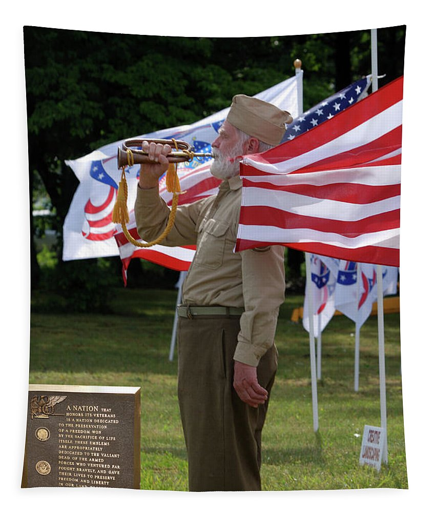 Us Tapestry featuring the photograph Playing Taps 2 Panel Composite Digital Art by Thomas Woolworth