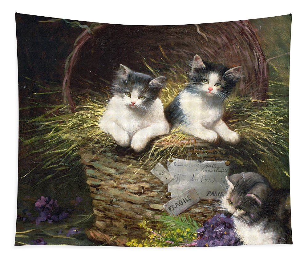 Cat Tapestry featuring the painting Playtime by Leon Charles Huber