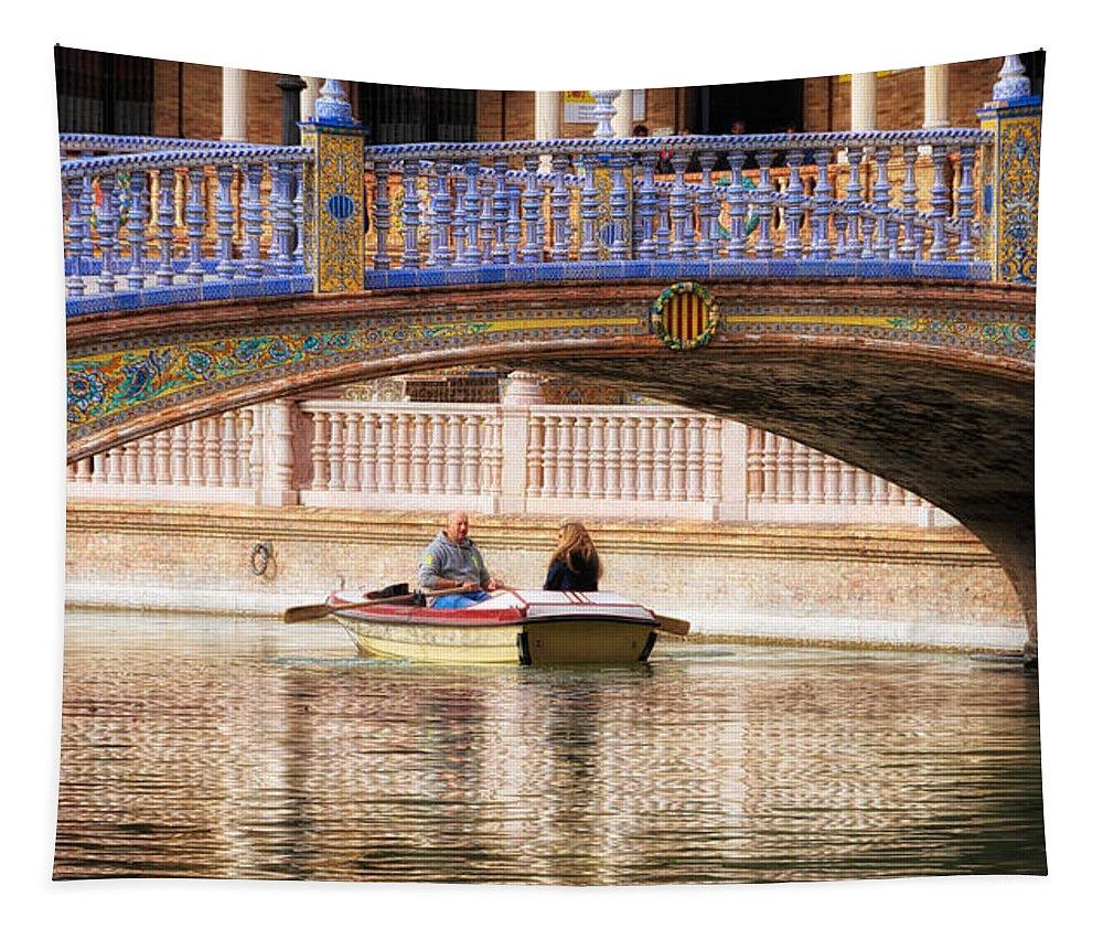 Joan Carroll Tapestry featuring the photograph Plaza De Espana Rowboats by Joan Carroll