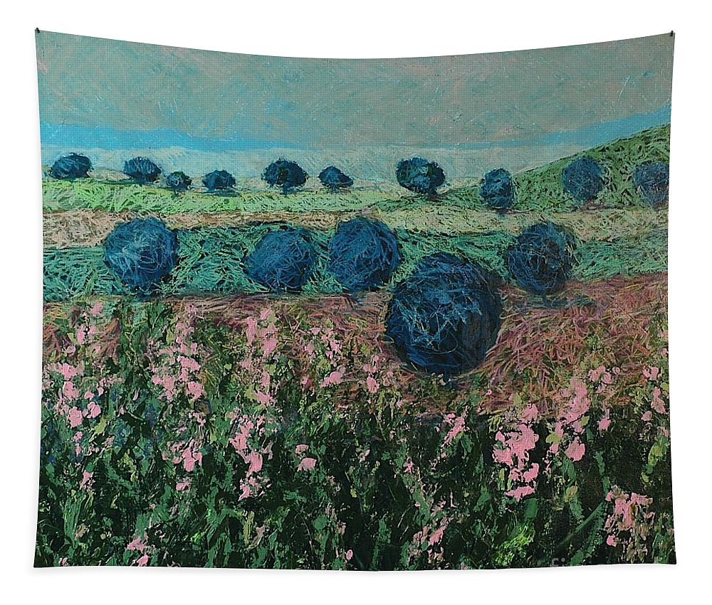 Landscape Tapestry featuring the painting Pleasant Meadows by Allan P Friedlander