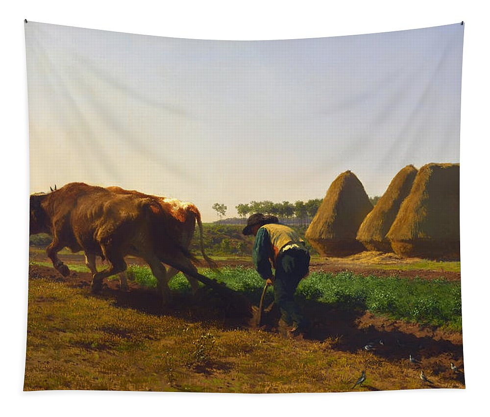 Farm Tapestry featuring the painting Plowing Scene by Mountain Dreams