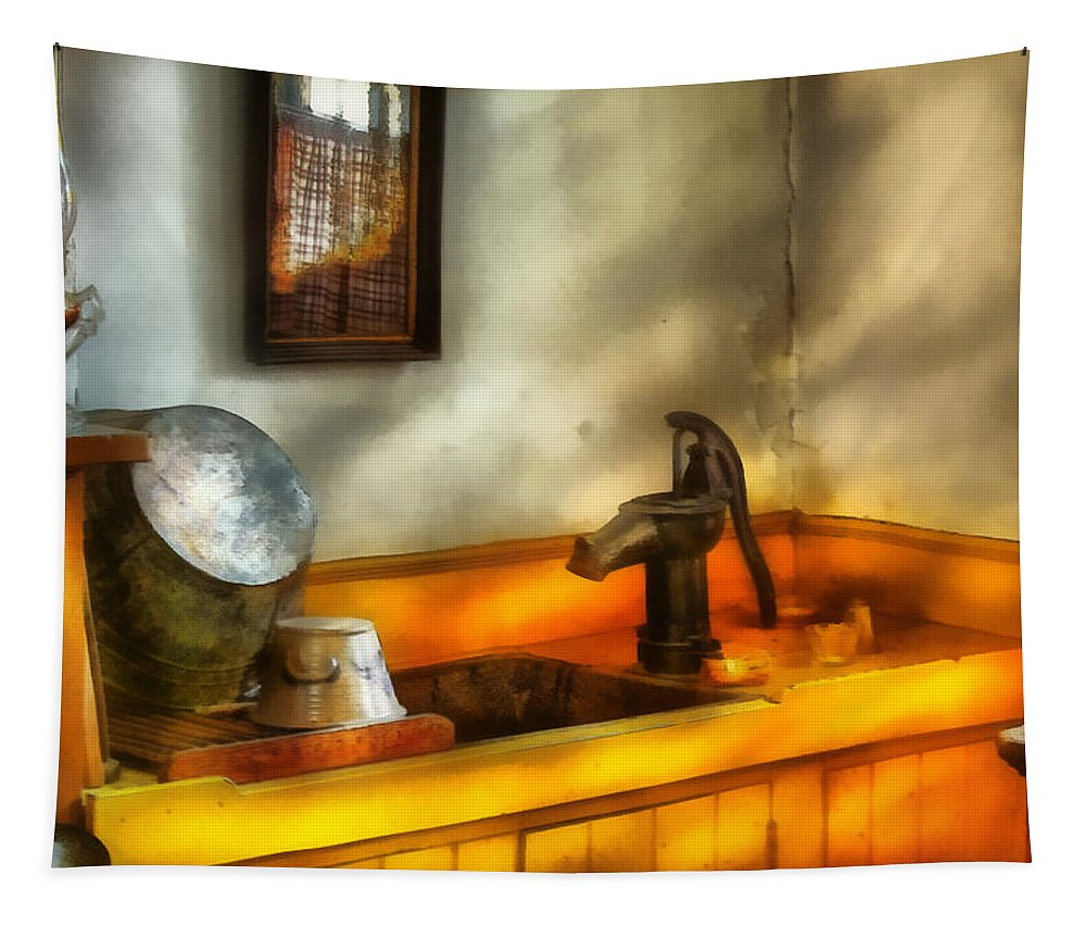 Savad Tapestry featuring the digital art Plumber - The Wash Basin by Mike Savad