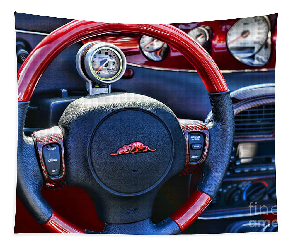 Paul Ward Tapestry featuring the photograph Plymouth Prowler Steering Wheel by Paul Ward