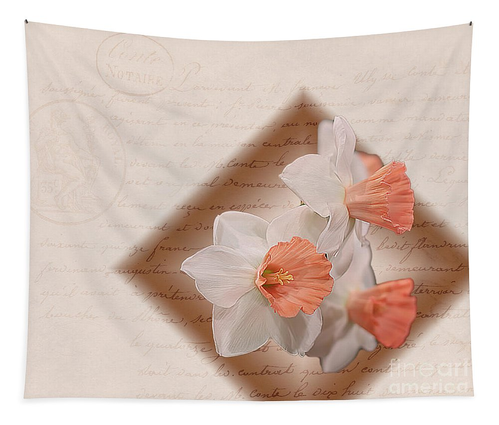 Daffodils Tapestry featuring the digital art Poem Of Peach Daffodils by Terry Weaver