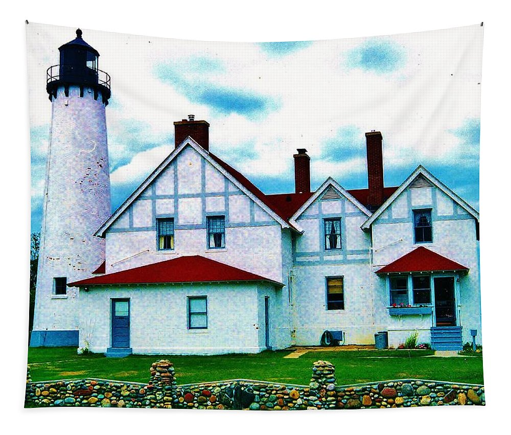 Point Iroquois Lighthouse Tapestry featuring the photograph Point Iroquois Lighthouse by Daniel Thompson