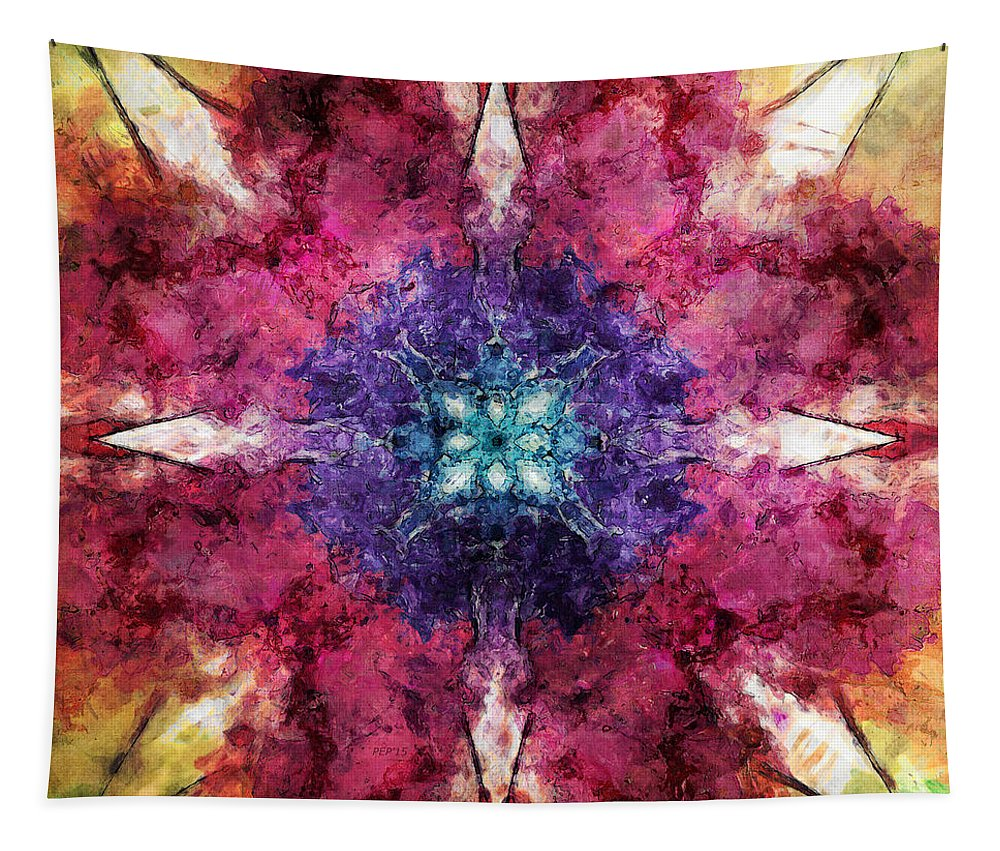 Flower Tapestry featuring the digital art Pointed Star Flower Watercolor by Phil Perkins