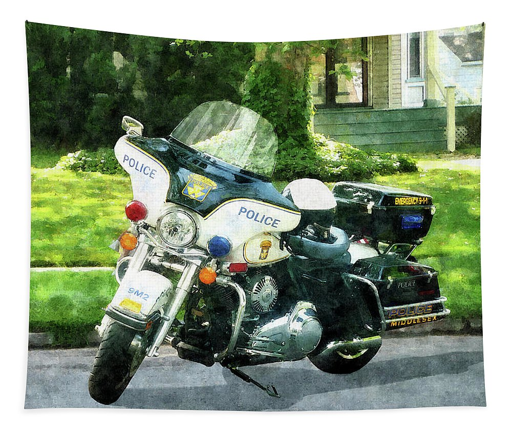 Motorcycle Tapestry featuring the photograph Police - Police Motorcycle by Susan Savad