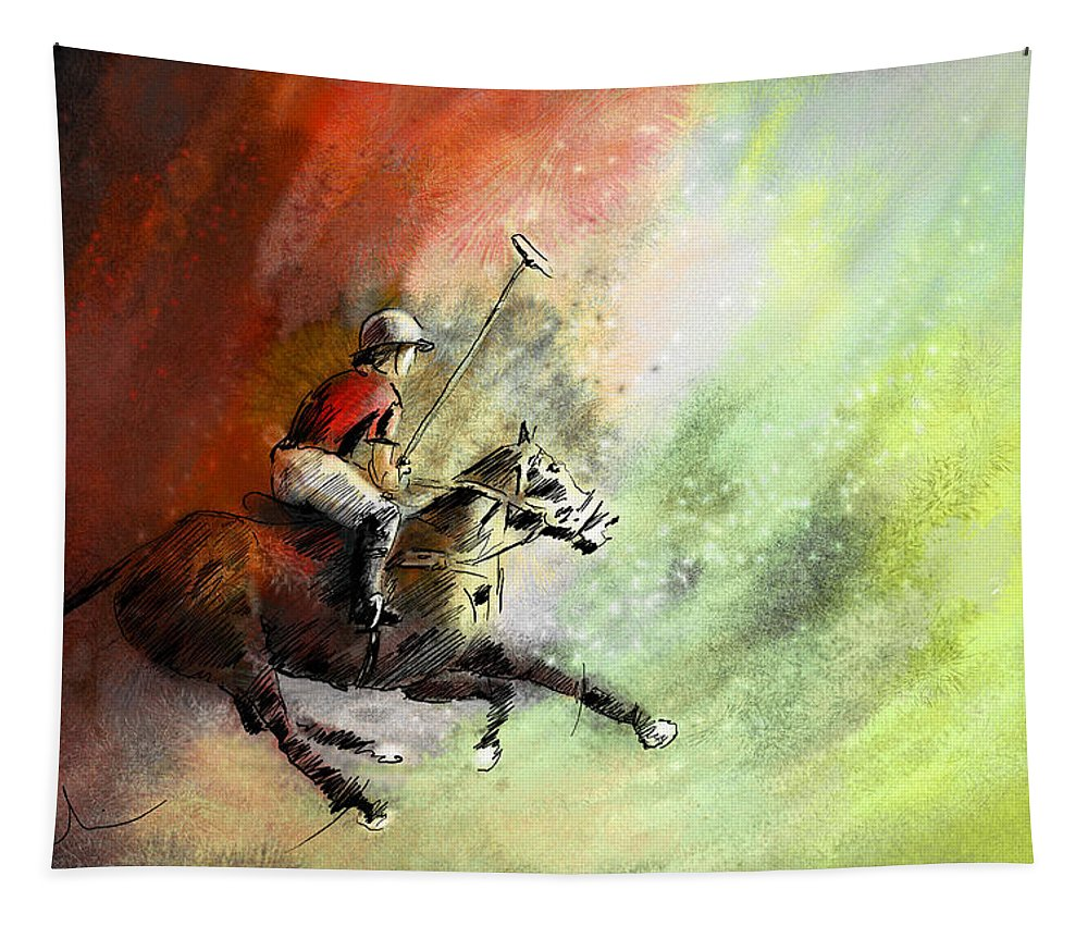 Sports Tapestry featuring the painting Polo 01 by Miki De Goodaboom