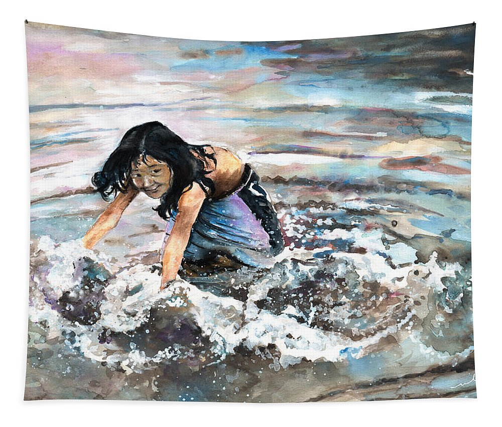 Travel Tapestry featuring the painting Polynesian Child Playing With Water by Miki De Goodaboom