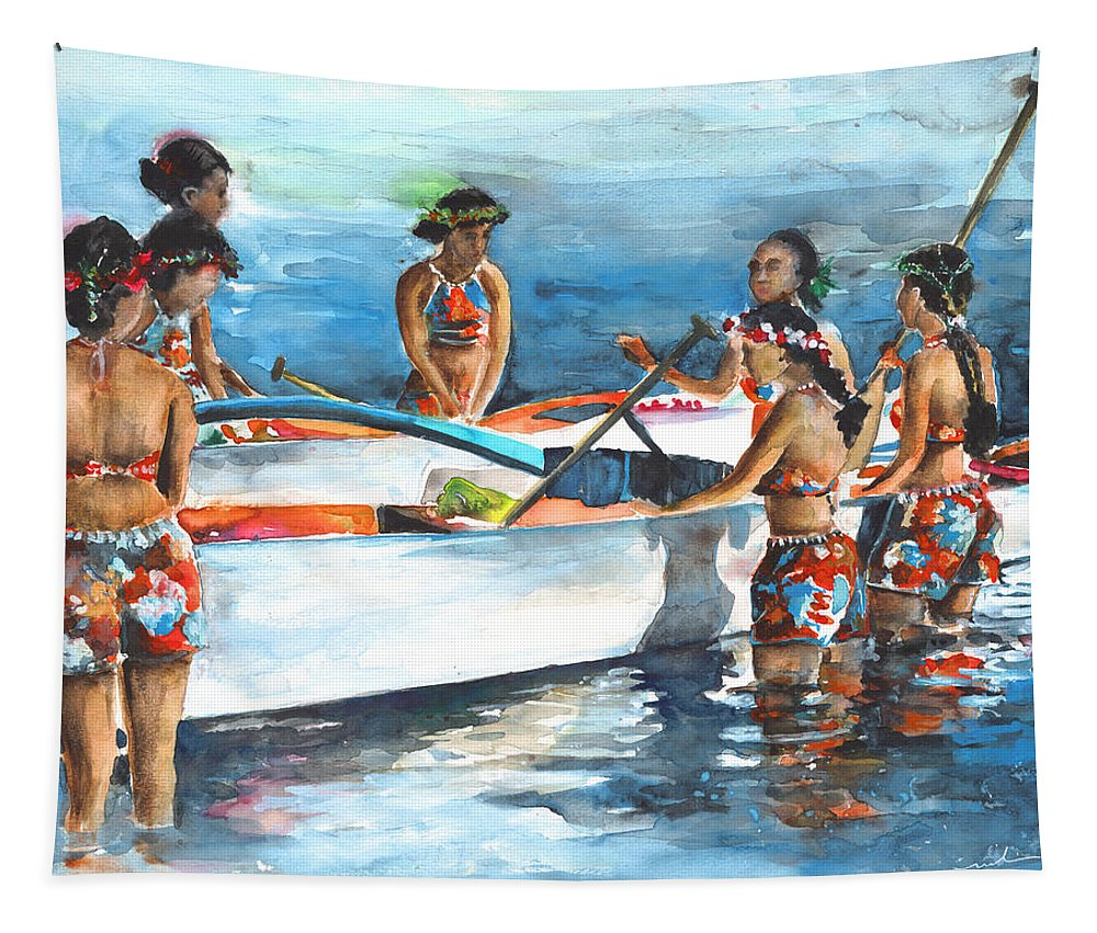 Travel Tapestry featuring the painting Polynesian Vahines Around Canoe by Miki De Goodaboom