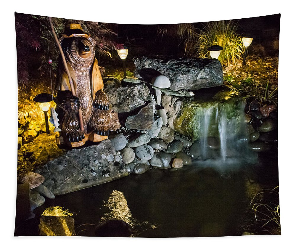 Pond Tapestry featuring the photograph Pond Waterfall And Chuck The Bear by Mick Anderson