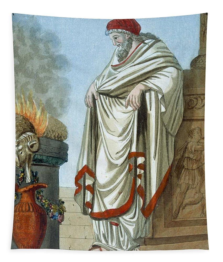 Ancient Rome Tapestry featuring the drawing Pontifex Maximus, Illustration by Jacques Grasset de Saint-Sauveur
