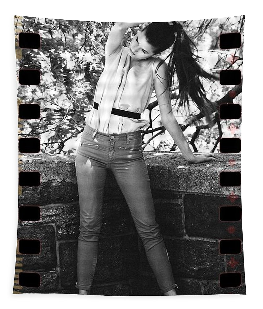 Lady Pony Tail Portrait Sexy Filmstrip Tapestry featuring the photograph Pony Tail Lady by Alice Gipson