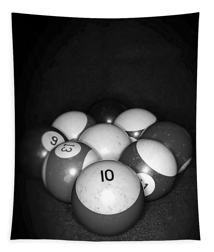 Paul Ward Tapestry featuring the photograph Pool Balls In Black And White by Paul Ward