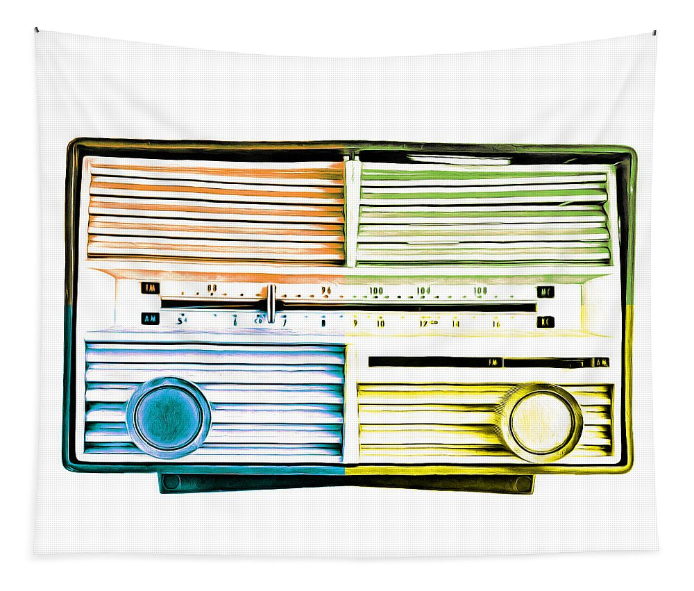 Pop Tapestry featuring the photograph Pop Art Vintage Radio by Edward Fielding