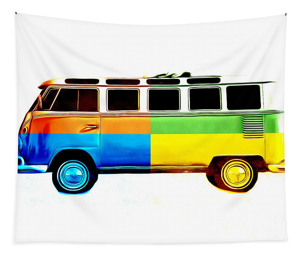 Surfer Tapestry featuring the photograph Pop Art Vw Bus Retro by Edward Fielding