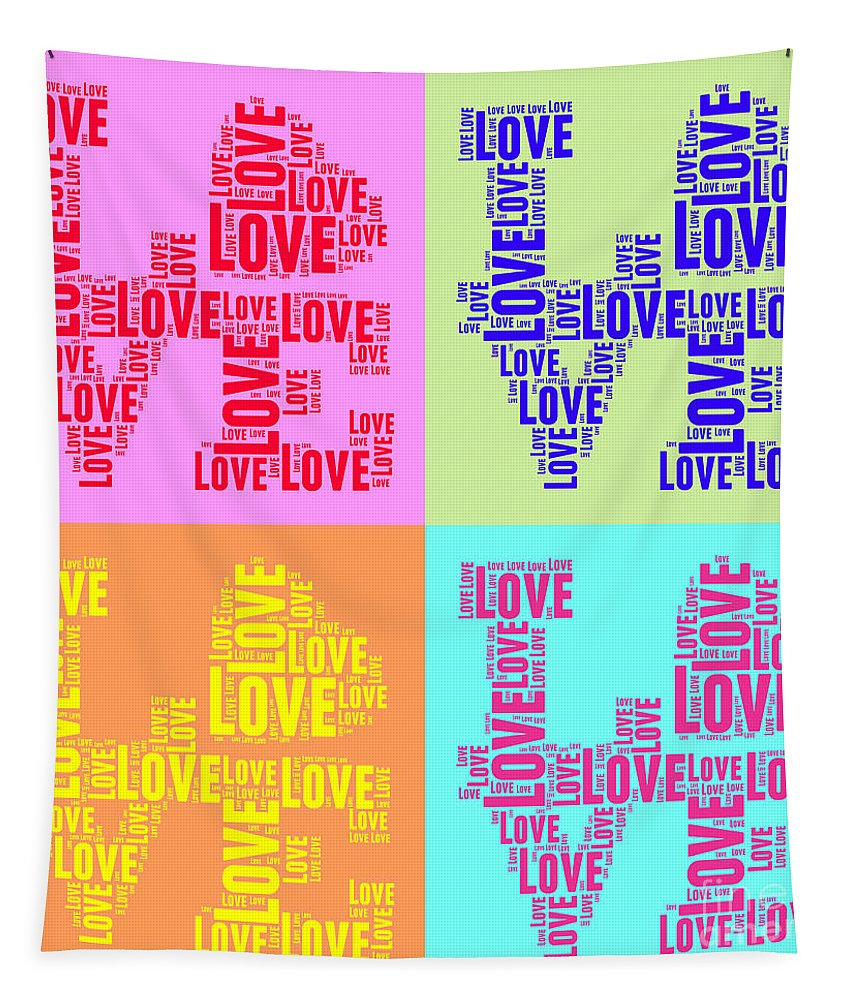 Love Tapestry featuring the digital art Pop Love Collage by Delphimages Photo Creations