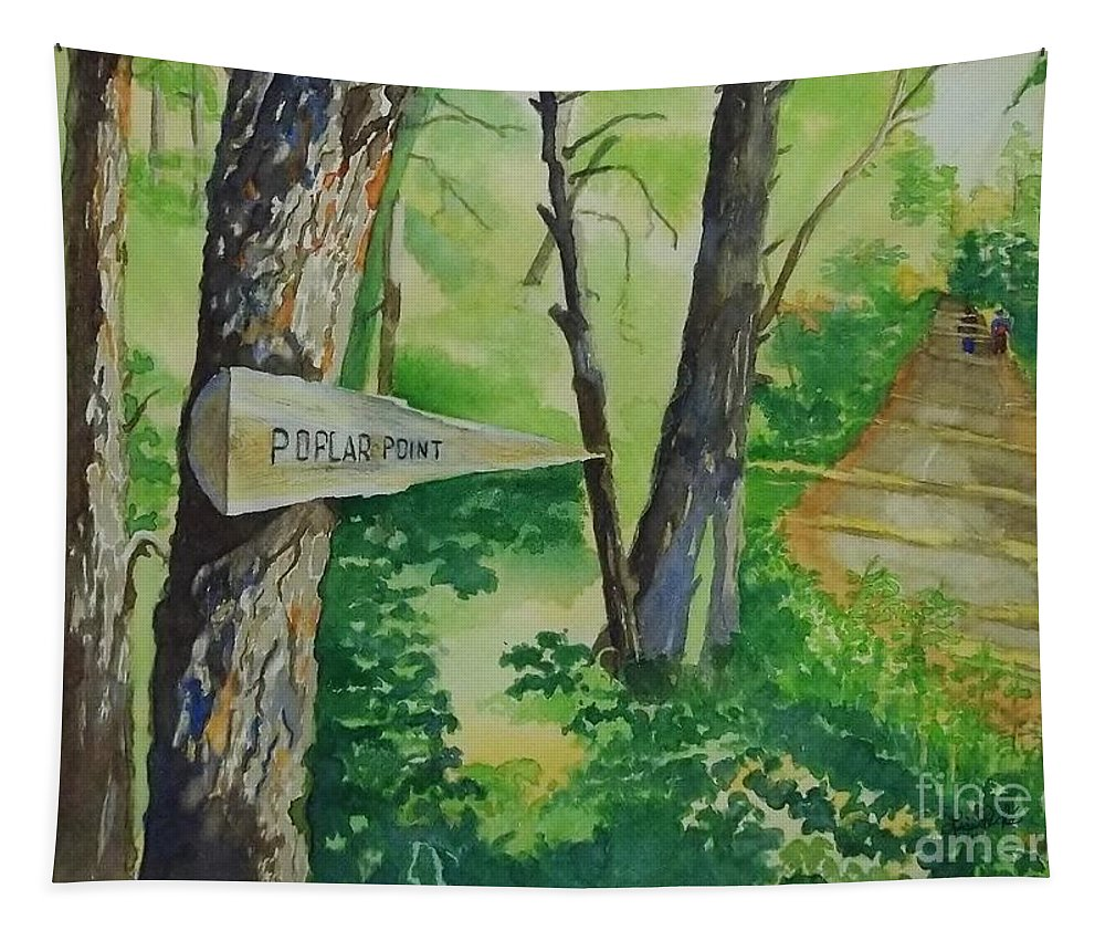Poplar Point Camp Tapestry featuring the painting Poplar Point Camp by Lise PICHE