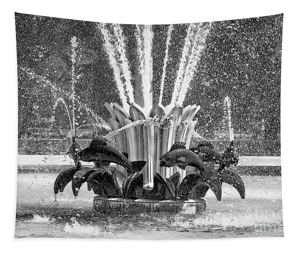Fountain Tapestry featuring the photograph Popp Fountain In City Park Bw by Kathleen K Parker