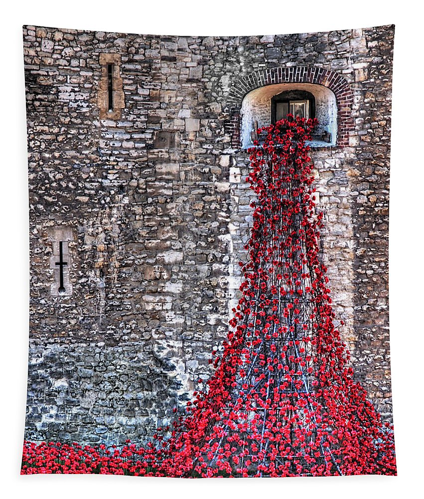 London Tapestry featuring the photograph Poppy Cascade by Gill Billington