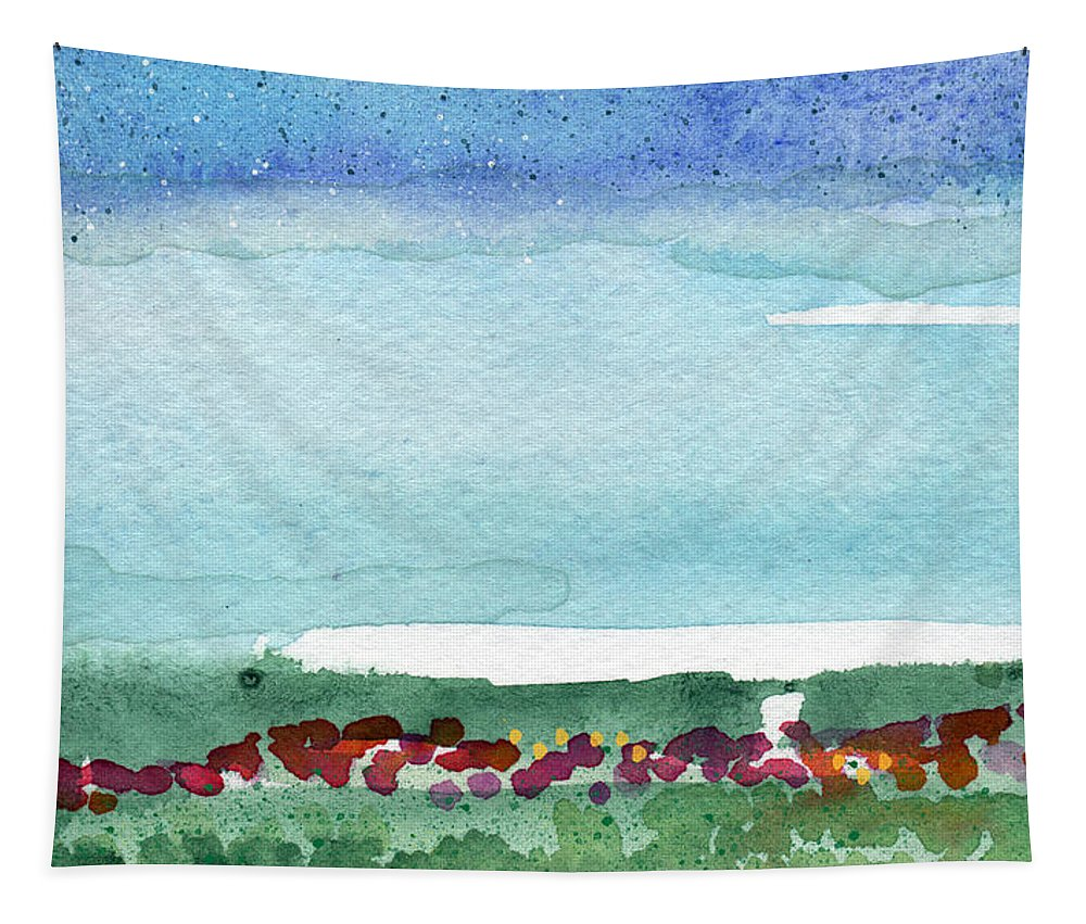Poppies Tapestry featuring the painting Poppy Field- Landscape Painting by Linda Woods