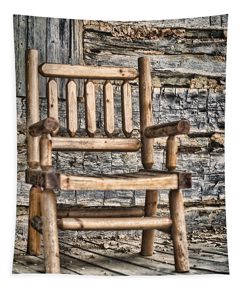 Wooden Tapestry featuring the photograph Porch Chair by Heather Applegate