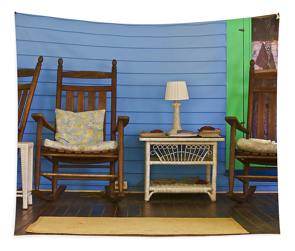 Americana Tapestry featuring the photograph Porch Of Cape May by David Letts