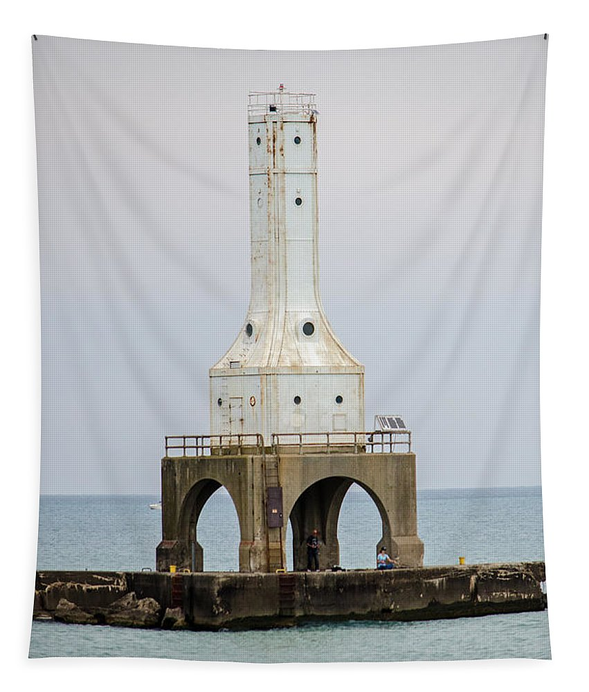 Lighthouse Tapestry featuring the photograph Port Washington Lighthouse by Susan McMenamin