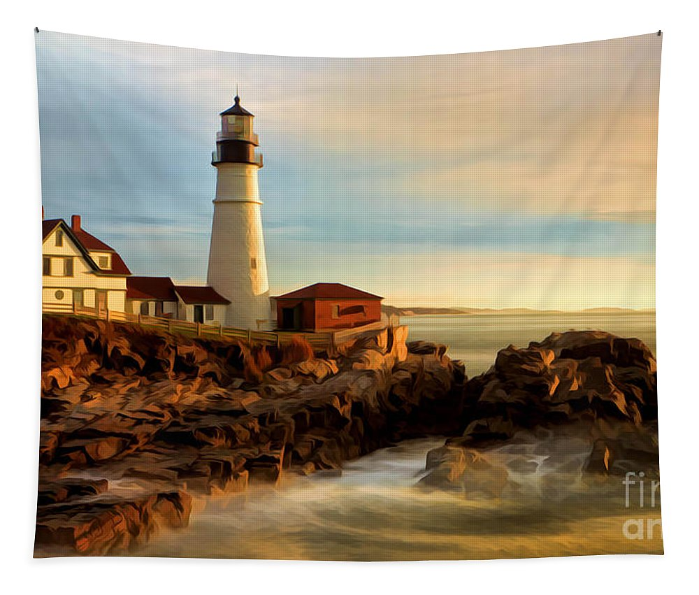 Portland Head Lighthouse Tapestry featuring the photograph Portland Head Lighthouse At Dawn by Jerry Fornarotto