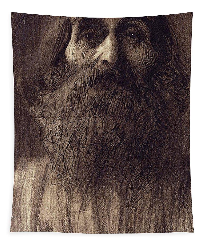Gustav Klimt Tapestry featuring the pastel Portrait Of A Bearded Man by Gustav Klimt