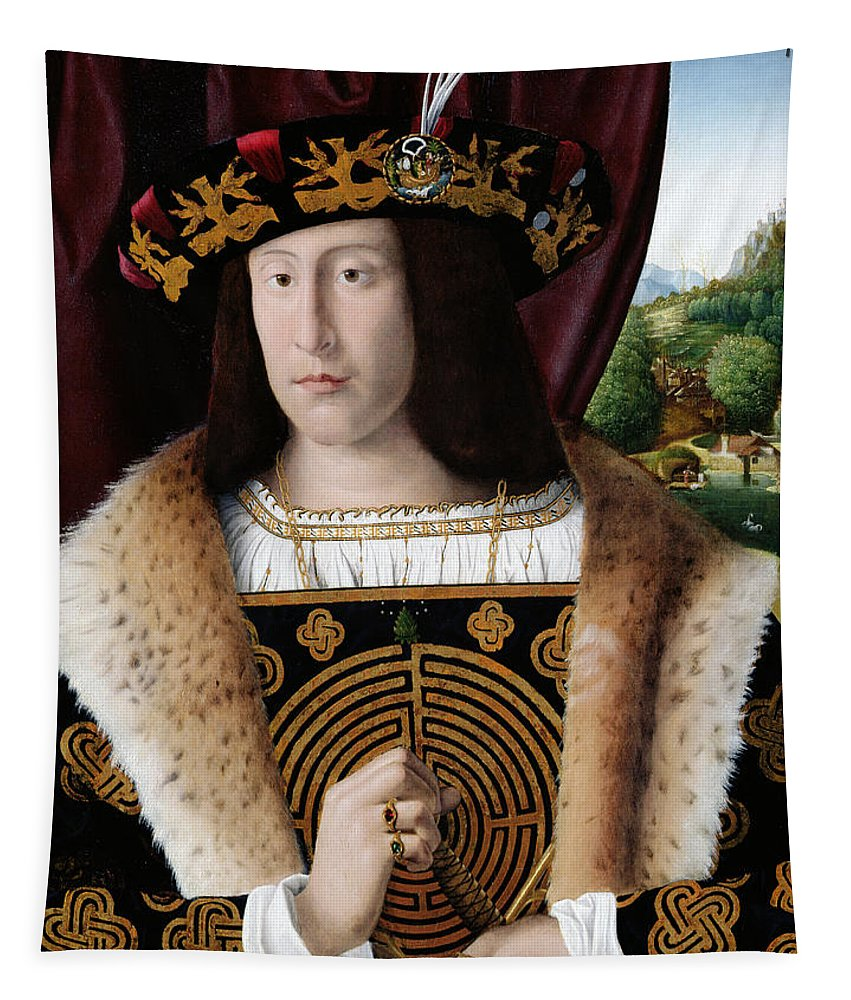 Fur Collar Tapestry featuring the painting Portrait Of A Man by Bartolomeo Veneto