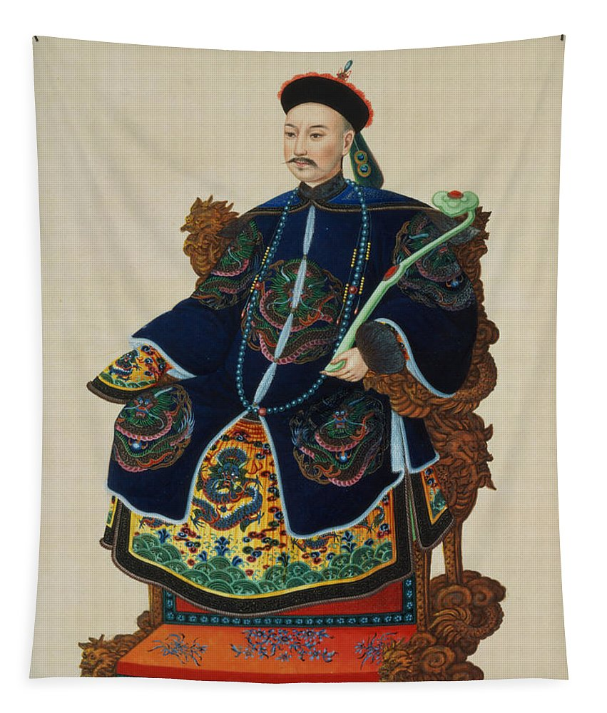 Male Tapestry featuring the painting Portrait Of A Mandarin by Chinese School