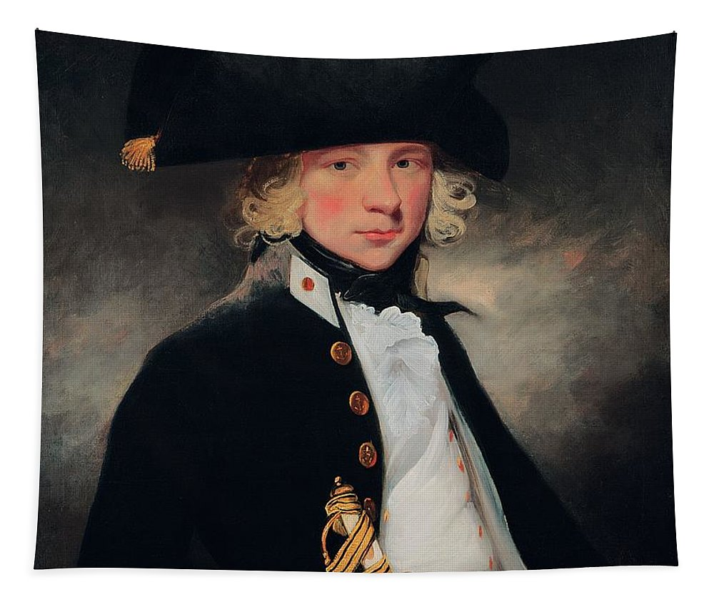 Male Tapestry featuring the painting Portrait Of A Young Midshipman, C.1796 by Sir William Beechey
