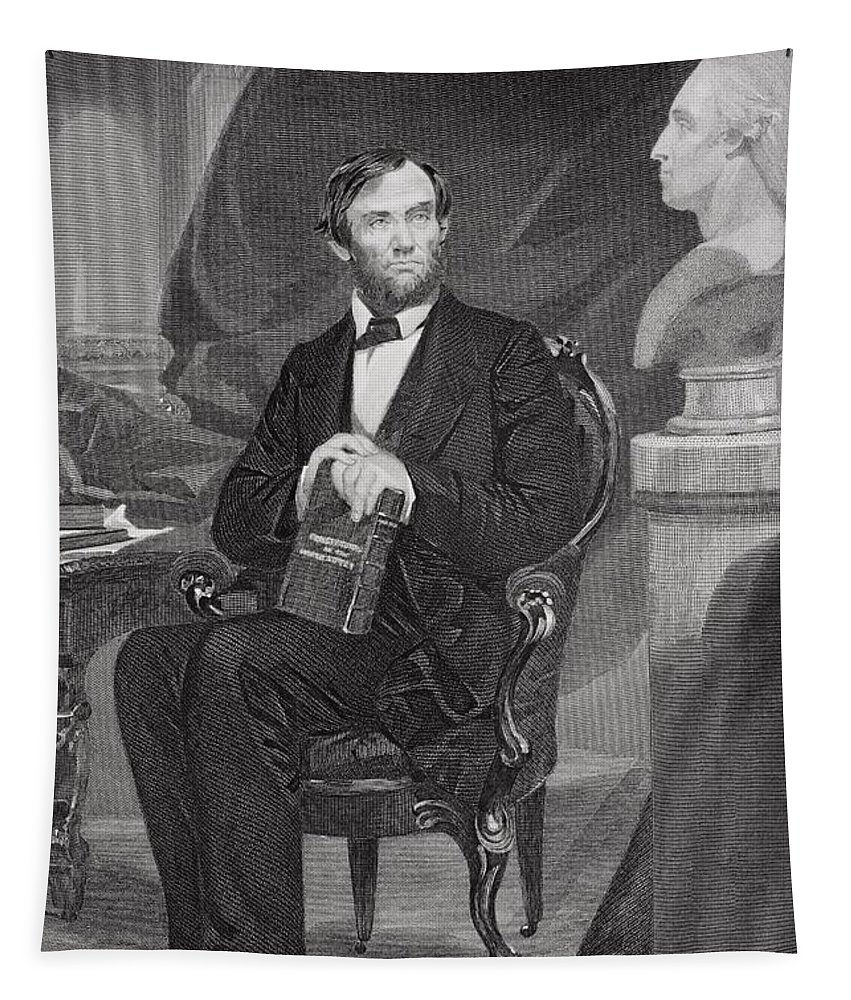 Male Tapestry featuring the painting Portrait Of Abraham Lincoln by Alonzo Chappel