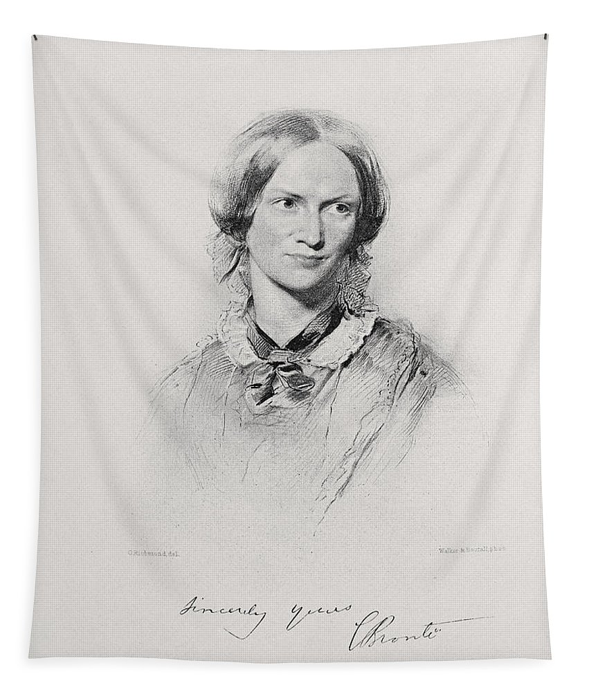 Charlotte Bronte Tapestry featuring the drawing Portrait Of Charlotte Bronte, Engraved by George Richmond