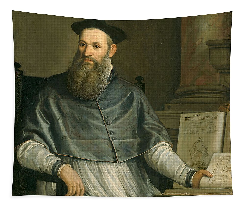 Male; Architect; Designer; Sketch Books; Theologian; Translator; Vitruvius Tapestry featuring the painting Portrait Of Daniele Barbaro by Paolo Caliari Veronese