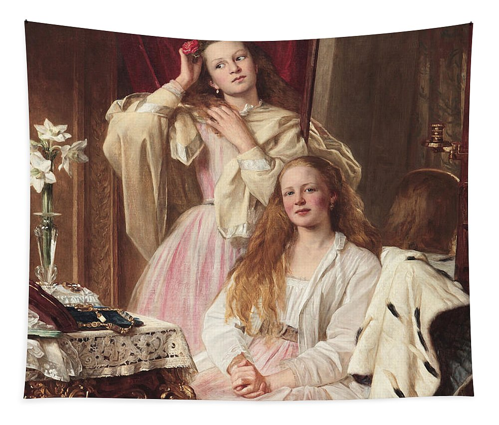 Female Tapestry featuring the painting Portrait Of Emma And Frederica Bankes by Henry Tanworth Wells