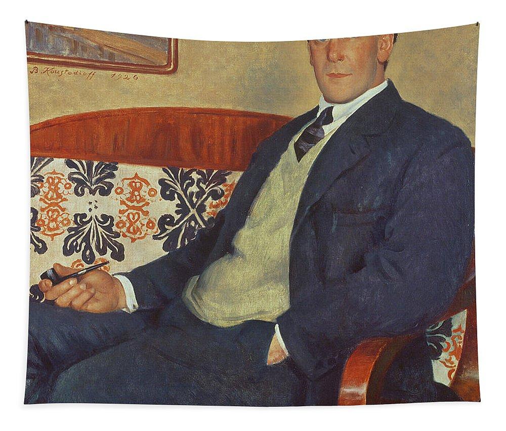 Piotr Leonidovich Tapestry featuring the painting Portrait Of Peter Kapitza 1926 by Boris Mihajlovic Kustodiev