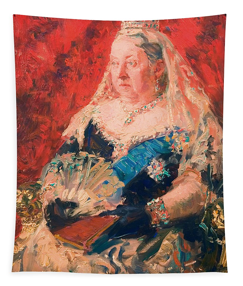 Painting Tapestry featuring the painting Portrait Of Queen Victoria by Mountain Dreams