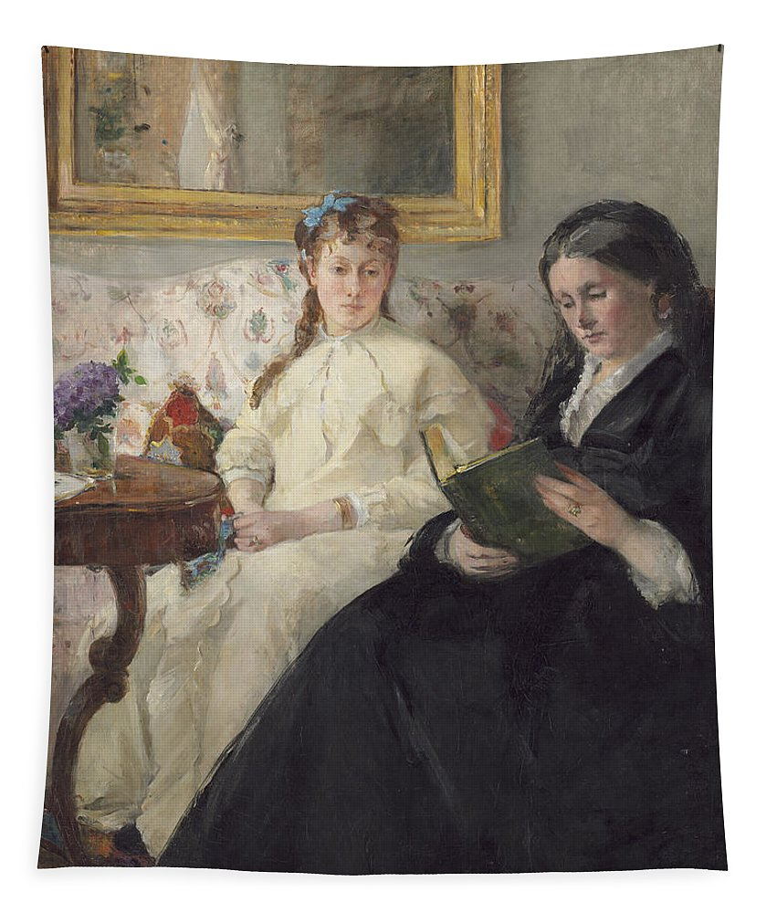 Reading; Mirror; Impressionist; Interior; Female; Portrait; Soeur; Mere; Artiste; #39 Tapestry featuring the painting Portrait Of The Artist S Mother And Sister by Berthe Morisot