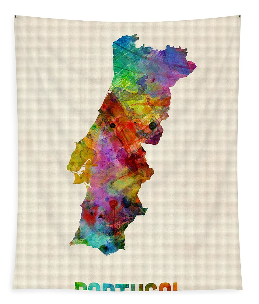 Map Art Tapestry featuring the digital art Portugal Watercolor Map by Michael Tompsett