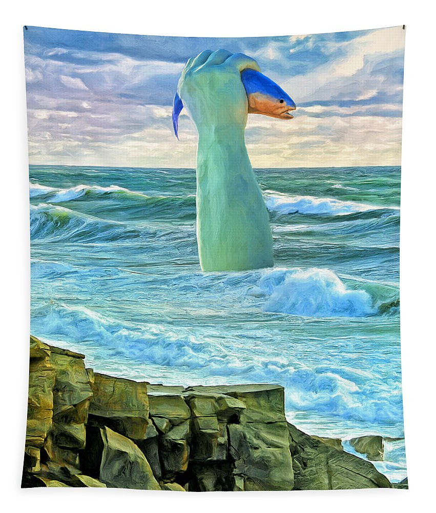 Poseidon Tapestry featuring the painting Poseidon by Dominic Piperata